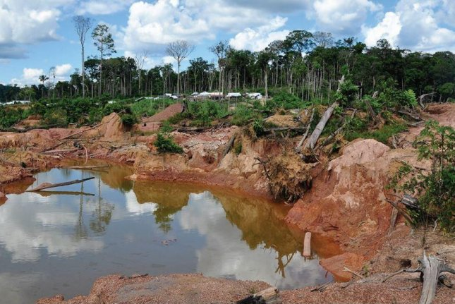 A gold mine in the Amazon rainforest is one example of environmental destruction that could result in collapse of the ecosystem by 2064. Photo courtesy of Robert Walker/University of Florida