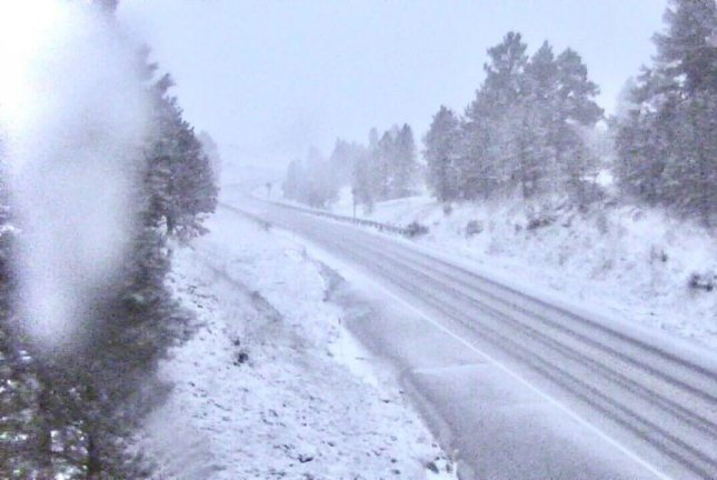 Snow blanketed Lewistown, Mont., on Saturday morning. Photo courtesy Montana Department of Transportation