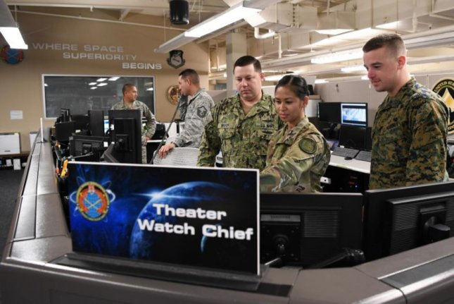 Personnel at the Combined Space Operations Center at Vandenberg AFB Calif., review data for the U.S. Space Force, which announced development of new data and software for tracking objects in space on Friday. Photo by Maj. Cody Chiles/U.S. Air Force/UPI