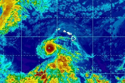 The center of Hurricane Hector was located about 475 miles east of Johnston Island, the Central Pacific Hurricane Center said. Image courtesy of the National Oceanic and Atmospheric Administration