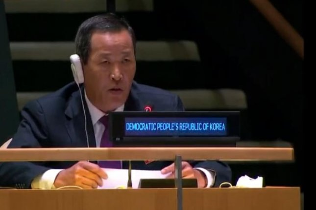North Korean Ambassador to the United Nations Kim Song speaks before the 75th U.N. General Assembly on Tuesday. Screenshot via United Nations Web TV