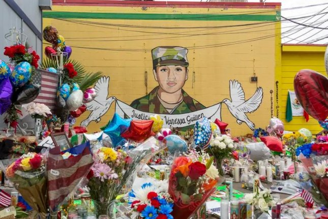 A mural and memorial at a Houston restaurant honored Army Spc. Vanessa Guillén in July. Photo by Briana Vargas for The Texas Tribune