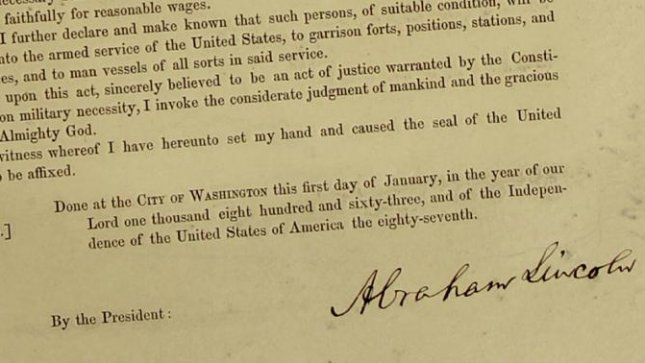 This signed copy of the Emancipation Proclamation by President Abraham Lincoln sold at a New York auction house for $2.1 Million (siegelauctions.com)