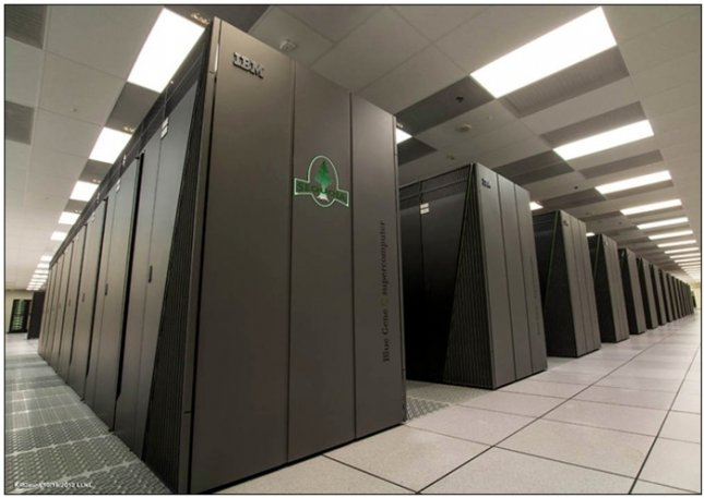 A floor view of the newly installed Sequoia supercomputer. Credit: Lawrence Livermore National Laboratories