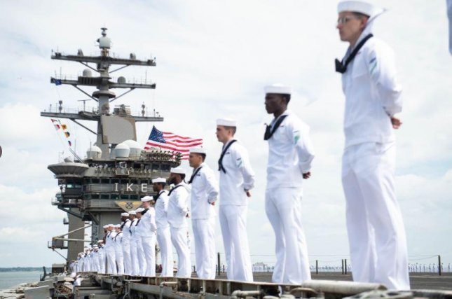 The aircraft carrier USS Dwight D. Eisenhower returned to Naval Station Norfolk, Va., on Sunday after deployments totaling nearly eight months. Photo courtesy of USS Dwight D. Eisenhower/Twitter