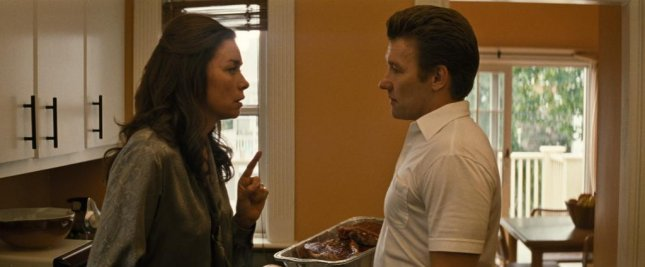 Julianne Nicholson and Joel Edgerton in a scene from Black Mass. Photo courtesy of Warner Bros.