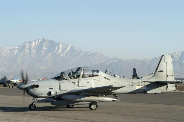 An A-29 Super Tucano taxis across the airfield at Hamid Karzai International Airport in Afghanistan, in January 2016. Photo by Tech. Sgt. Nathan Lipscomb/U.S. Air Force