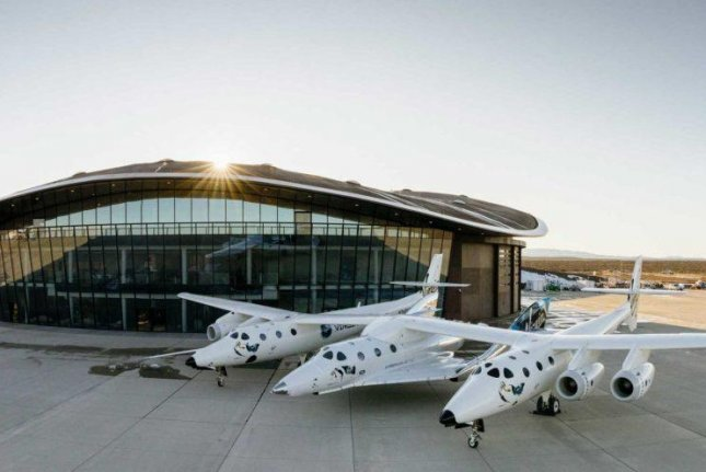 Virgin Galactic aircraft are seen at the company's Spaceport America in Sierra County, New Mexico, about 45 miles north of Las Cruces. Photo courtesy Virgin Galactic