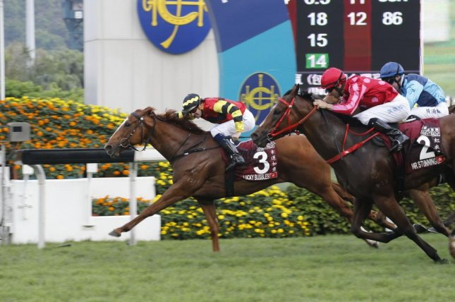 Lucky Bubbles wins Group 1 Chairman's Sprint Prize Sunday at Sha Tin in Hong Kong. Photo courtesy Honk Kong Jockey Club.