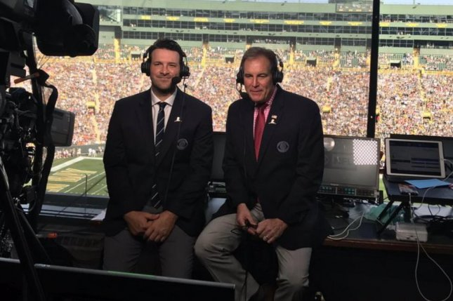 CBS broadcasters Tony Romo and Jim Nantz called the Green Bay Packers and Cincinnati Bengals game for the network Sunday at Lambeau Field in Green Bay, Wisc. Photo courtesy of Tony Romo/Twitter