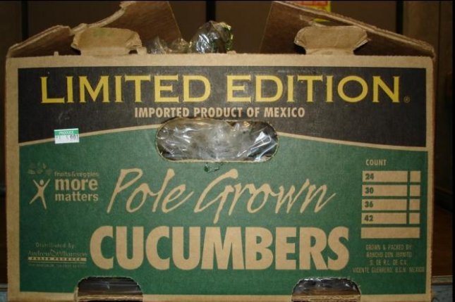 All American or slicer cucumbers distributed by Andrew and Williamson Fresh Produce from Aug. 1 to Sept. 3 have been recalled due to Salmonella contamination. Photo by California Department of Public Health