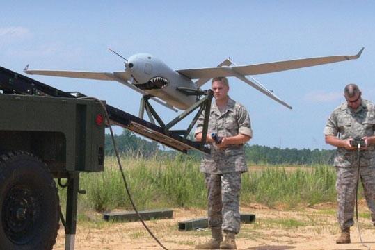 An Aerosonde SUAS being readied for flight. U.S. Army photo