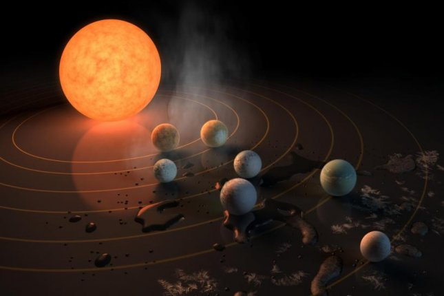 New research suggests the build up of carbon monoxide in the atmospheres of planets in the TRAPPIST-1 system likely make the alien worlds too toxic for complex life. Photo by JPL/NASA