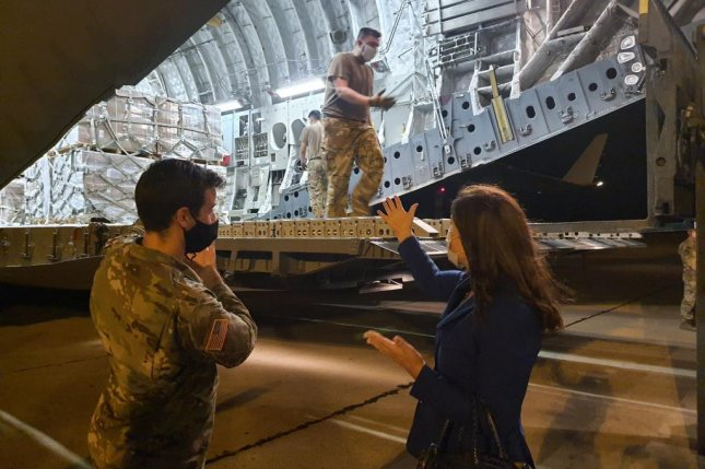 U.S. Air Force Airmen unload humanitarian aid supplies from a U.S. Air Force C-17 Globemaster III at Beirut. Photo courtesy of U.S. Central Command