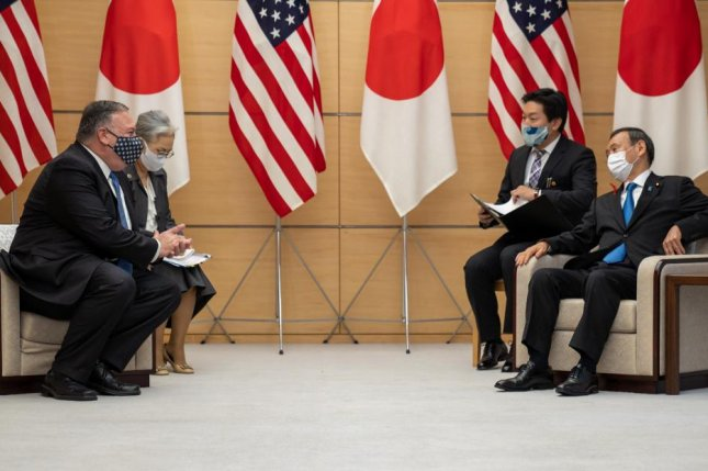 U.S. Secretary of State Mike Pompeo (L) meets with Japanese Prime Minister Yoshihide Suga at the prime minister's office in Tokyo on Tuesday. Photo courtesy of U.S. Department of State