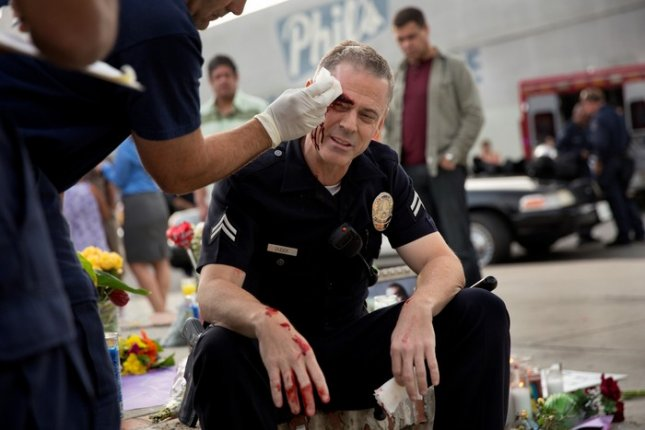 Photo of actor C. Thomas Howell on the set of Southland, courtesy of TNT.