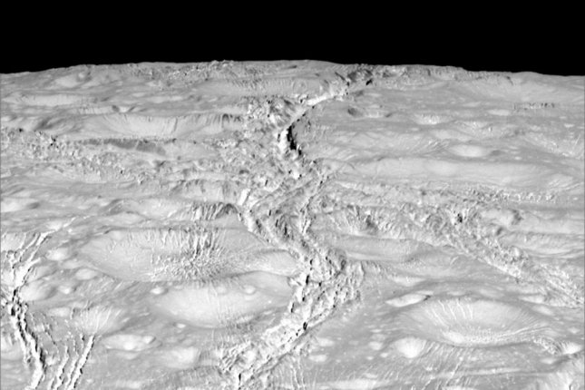 A close-up of Enceladus' north pole captured by NASA's Cassini spacecraft on October 14, 2015. Photo by NASA/JPL-Caltech/Space Science Institute