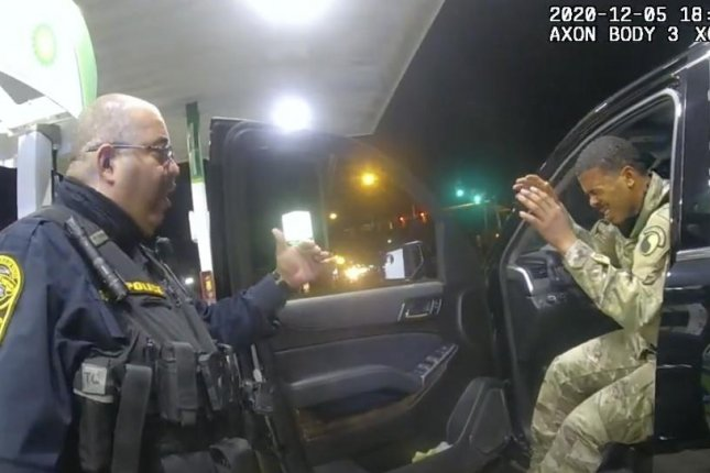 Lt.Caron Nazario (R) filed a lawsuit earlier this month accusing two police officers of using excess force during a traffic stop in December. Image courtesy of Windsor Police Department/Footage