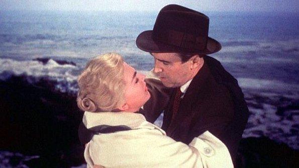 Kim Novak and Jimmy Stewart in Alfred Hitchcock's Vertigo.
