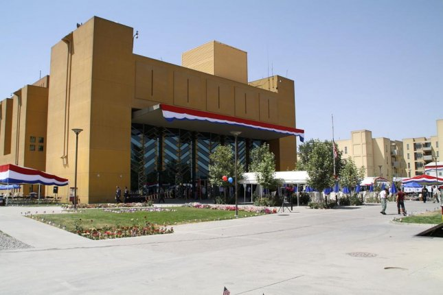 The U.S. Embassy in Kabul, Afghanistan, seen here decorated for a holiday observance, warned of credible threats of an imminent attack on Monday. Photo courtesy of USAID Afghanistan/Wikipedia
