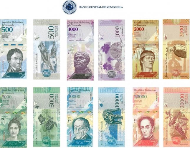 The Central Bank of Venezuela said it would issue new higher-denomination currency to aid residents dealing with inflation. President Nicolas Maduro would soon order the 100 bolivar bill -- which was the highest denomination before the bank's policy change -- out of circulation but the new bills have not been able to reach many consumers. Photo courtesy of Central Bank of Venezuela