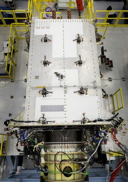 The second of 10 planned satellites for the GPS III system, pictured, has been finished and is undergoing environmental and other tests, and Lockheed Martin said is has expects the third satellite to be done later this fall. The remaining seven satellites are also all currently under construction. Photo courtesy of Lockheed Martin