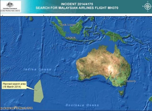 Search area where Australian authorities found objects possibly related to the missing Malaysia Airlines plane (AMSA)