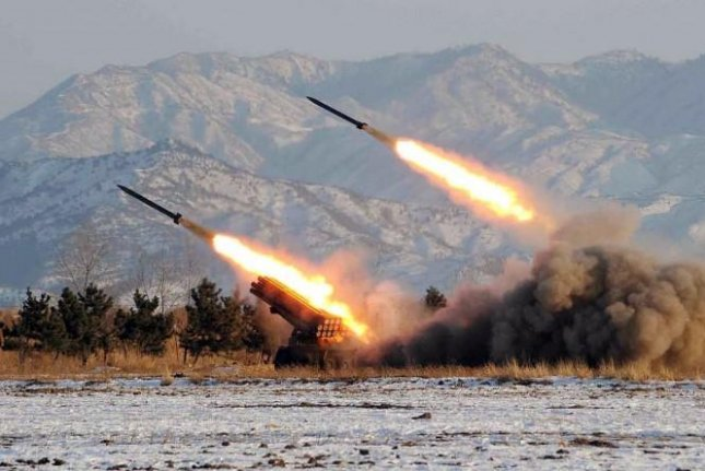 North Korean leader Kim Jong Un was likely present at the test launch of four short-range ballistic missiles on April 3, 2015. The weapons were fired into the waters of the Yellow Sea off the western coast of North Korea. Photo courtesy of Yonhap News.