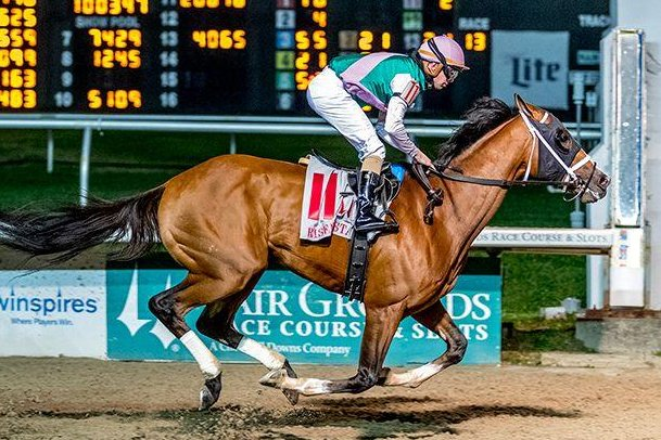 Mandaloun, the Kentucky Derby runner-up, shown winning the Risen Star Stakes at Fair Grounds, returns to action Sunday in the Pegasus Stakes at Monmouth Park. Photo courtesy of Fair Grounds