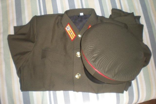A North Korean People's Army uniform on sale on eBay for $325 on May 19. The site yields more than 8,000 items for North Korea-related items. Photo courtesy of *a*a*a*a*a*/eBay