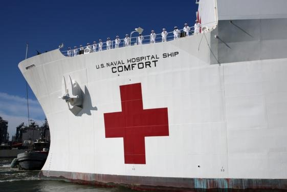 The U.S. Navy hospital ship USNS Comfort got underway from Naval Station Norfolk, Va., last Friday ahead of departing for Central and South America from Port Miami. File photo by Bill Mesta/U.S. Navy