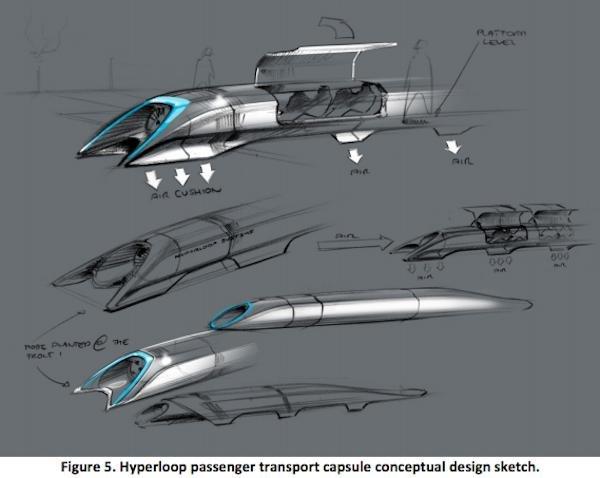 Sketch from the Hyperloop Alpha Design released by Elon Musk. (Elon Musk)