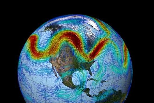 The jet stream, created by the convergence of tropic and Arctic air, is highly variable and strongest in the winter when the temperature difference in the Northern Hemisphere is greatest. Photo courtesy of NASA's Goddard Space Flight Center