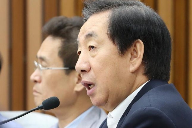 """Kim Sung-tae, the leader of the Liberty Korea Party, said Wednesday a rival politician in the ruling party should """"clarify"""" his comments regarding Seoul's National Security Act. File Photo by Yonhap/EPA-EFE"""