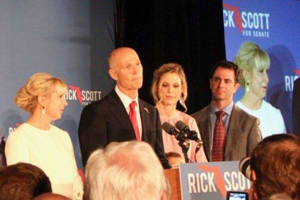 Florida Gov. Rick Scott appears with family members as he speaks to supporters in Fort Myers on Election Night when he declared himself the winner of the U.S. Senate race. But Scott didn't officially beat incumbent Bill Nelson until 12 days later Sunday when a hand recount showed him leading by about 10,000 votes. Photo courtesy Rick Scott for Florida/Facebook