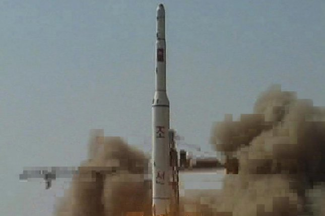 North Korea's 2009 launch of satellite Kwangmyongsong-2 in 2009. North Korea is almost finished adding an extension to a rocket launch platform near the China border, according to South Korea. File Photo by Yonhap