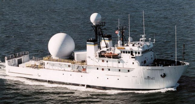 The U.S. Navy surveillance ship Invincible was harassed by Iranian naval vessels in two incidents last week in the Strait of Hormuz, U.s. officials said Monday. The incidents came as Iran test-fired ballistic missiles nearby. Photo courtesy of the U.S. Navy