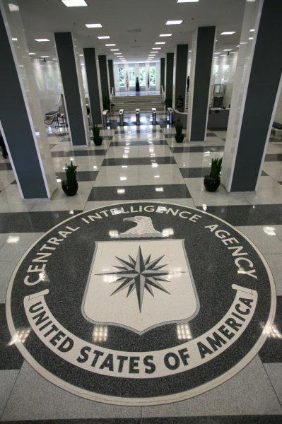 The seal in the lobby at the CIA headquarters in Langley, Virginia, USA, on August 14, 2008. On Tuesday, the Justice Department announced a former CIA agent was arrested for possessing unauthorized information. File Photo by Dennis Brack/EPA-EFE
