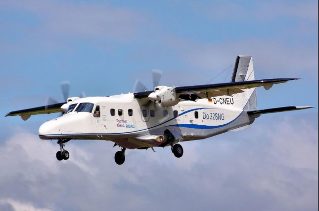 The Dornier-228 twin-turboprop aircraft, similar to one pictured, crashed into homes in eastern Democratic Republic of Congo, killing 19 aboard and at least five people on the ground Sunday morning. Photo by Airwolfhound/Wikimedia Commons