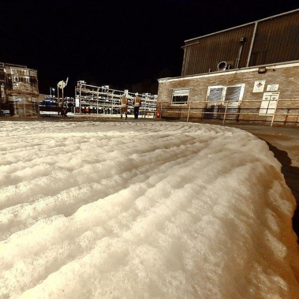 Firefighters in Britain responded to an industrial estate where gallons of fire retardant foam were accidentally released. Photo courtesy of Yate Fire Station