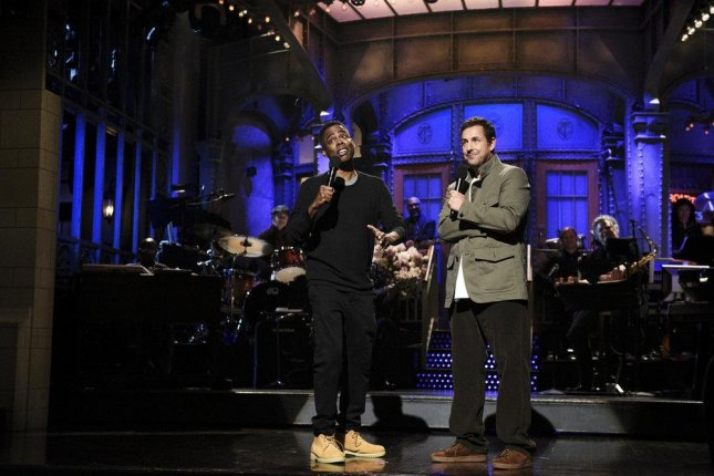 Former Saturday Night Live co-stars Chris Rock and Adam Sandler reunited on the show this weekend. Photo by Will Heath/NBC