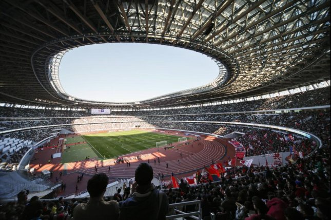 The new National Stadium in Tokyo will host both the opening and closing ceremonies on July 24 and August 9, respectively. File Photo by Kimimasa Mayama/EPA-EFE