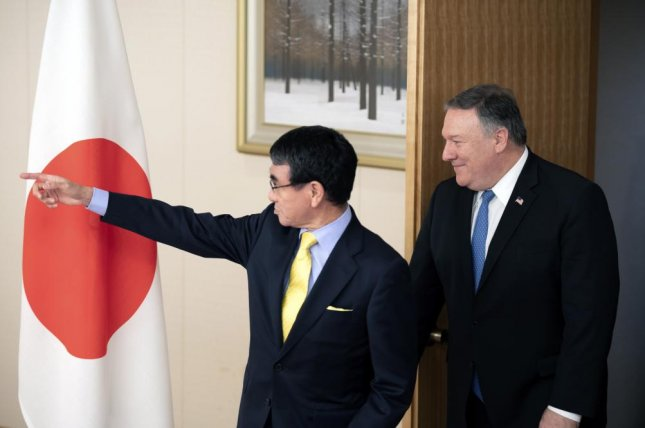 U.S. Secretary of State Mike Pompeo (R) and Japan's Foreign Minister Taro Kono (L) met in Tokyo before Pompeo visited North Korea on Oct. 7. File Pool Photo by SIPA/EPA-EFE