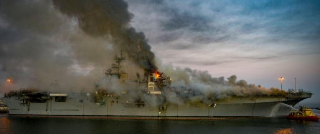 Operations to extinguish a fire aboard the USS Bonhomme Richard continued on Wednesday in San Diego. Photo by MCS2 Austin Haist/U.S. Navy