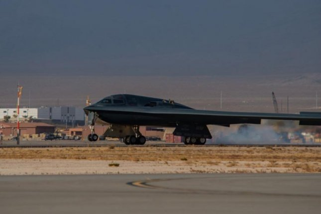 A B-2 bomber from Whiteman Air Force Base, Mo., touches down at Nellis Air Force Base, Nev., to participate in Red Flag 21-1 combat exercises. Photo by Airman Thomas Cox/U.S. Air Force