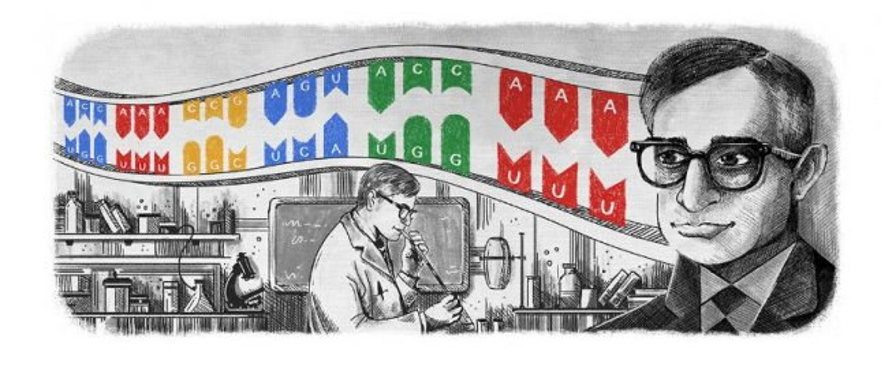 Google is paying homage to biochemist Har Gobind Khorana with a new doodle. Image courtesy of Google