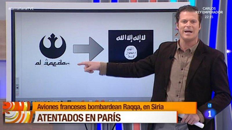 Jota Abril incorrectly identifies the Rebel Alliance symbol from Star Wars as an al-Qaida logo. RTE/La Manana video screenshot