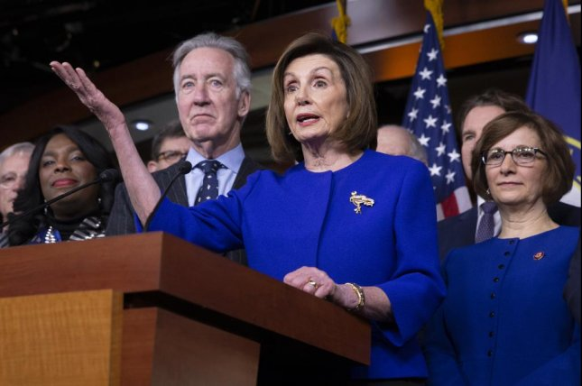 House Speaker Nancy Pelosi speaks to reporters Tuesday about the United States-Mexico-Canada Agreement. Photo by Michael Reynolds/EPA-EFE