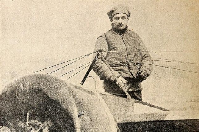 Famed French aviator Roland Garros is pictured in this June 1914 file photo in his hydroplane Morane-Saulnier G 160HP. Garros participated in the first recorded air battle driving his airplane into a German Zeppelin, destroying the aircraft. File photo by UPI