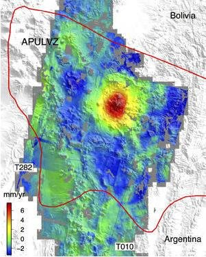 The sombrero uplift (red center) is located in the middle of an active magma system (red border). Credit:University of California, San Diego